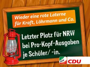 Schlusslicht: Letzter Platz für NRW bei Pro-Kopf-Ausgaben je Schüler(-in). Idee: CDU Bonn